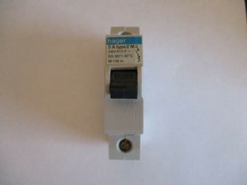 HAGER 5A 5 AMP TYPE 2 M3 (M10645) SINGLE POLE MCB CIRCUIT BREAKER
